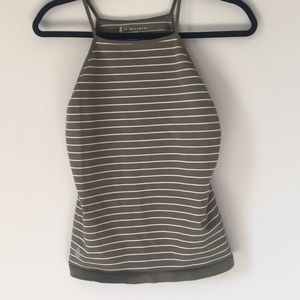 NWOT Free People Movement Olive Striped tank
